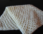 Solid Crochet Stroller Blanket with flowers