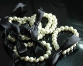 Pearl Bracelet with Ribbon Tie Custom Bridesmaids Flower Girl Bridal Jewelry