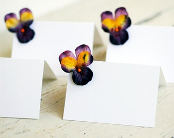 Set of 10 - Purple Paper Viola Place cards Summer Wedding Dinner Party Garden Party escort