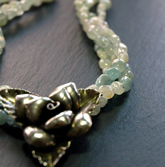 Triple Strand Aventurine Necklace w/Thai Sterling Silver Flower  OOAK Rush Shipping Available