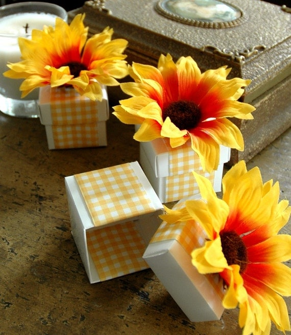 Engagement Party Gift Ideas: Items Similar To Deluxe Sunflower Gingham Party Favor GIFT