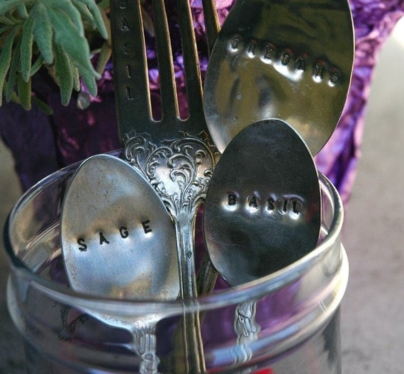 Rush Shipping - For the gardener Design Your Own Silverware Garden Markers Place card or Must have for Birthday, Spring or Easter