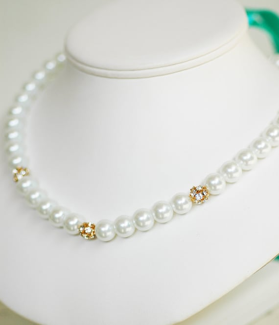 Set of 3 - Georgia Perfect Bridesmaid Necklace-Pearl Necklace w/Ribbon Tie Rhinestone WEDDING JEWELRY Maid of HONOR