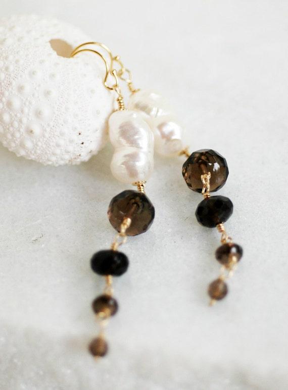 Smoky Quartz Freshwater Pearls Gold Filled Wire Wrap Earrings Beach Ocean Summer