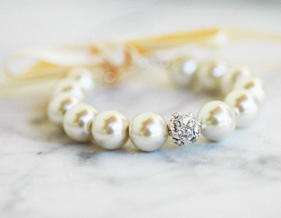 Clarissa Silver Adjustable Flower Girl Bracelet WEDDING Mother Daughter Custom Pearl Jewelry