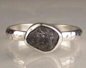 Natural Rough Black Diamond Ring - Palladium Sterling