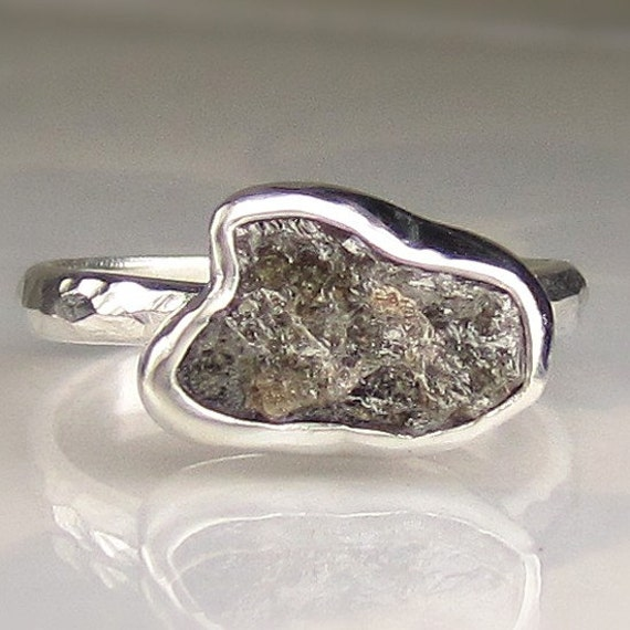 Natural Rough Uncut Diamond Engagement Ring