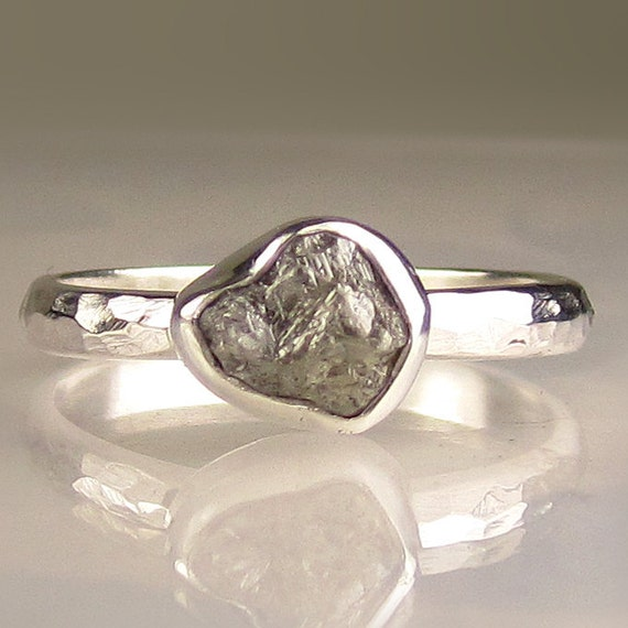 Rough Diamond Ring - Palladium Sterling