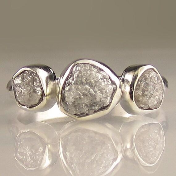 Three Stone Rough Diamond Ring - Palladium Sterling