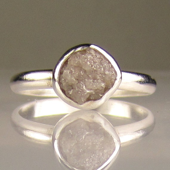 Rough Diamond Ring - Recycled Palladium Sterling
