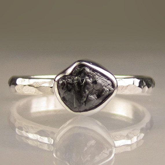 Natural Rough Black Diamond Ring - Recycled Palladium Sterling
