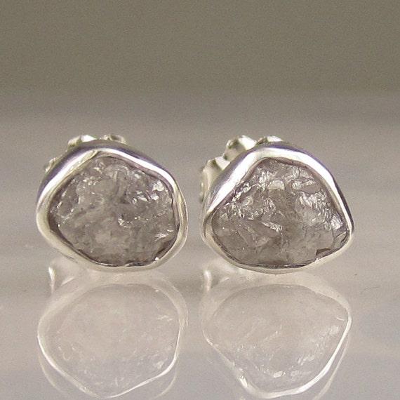 Natural Rough Diamond Earrings