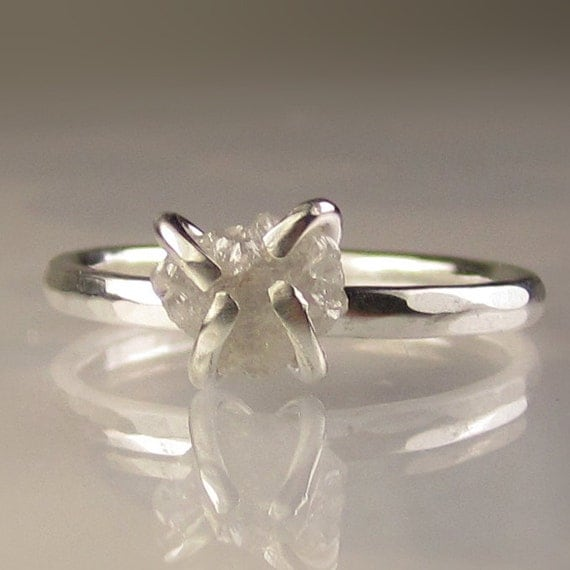 Raw Diamond Ring in Recycled Sterling