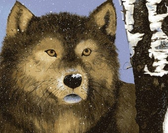Gray Wolf Original Acrylic 9 x 12 - 50 PERCENT is donated to the National Wildlife Federation for Gulf Coast Clean Up