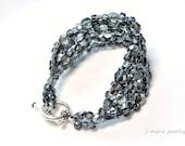 dark grey bracelet . graphite . glass bead. retro glam . czech glass bracelet . made to order .