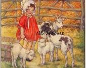 Farm Girl with Goats and Lambs Downloadable, Printable Digital Image