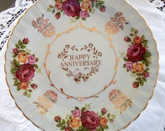 Happy Anniversary 8 inch Vintage Plate by Royal Staffordshire