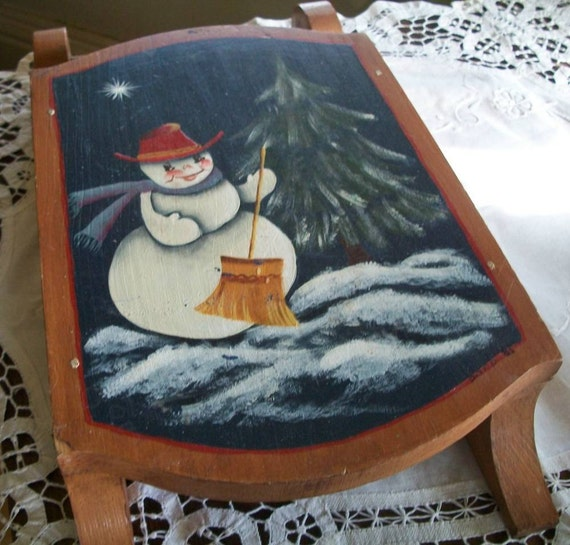 Vintage Wooden Decorative Sleigh with Hand Painted Snowman