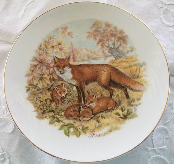 Red Fox and Kits 6 inch Vintage Porcelain Plate