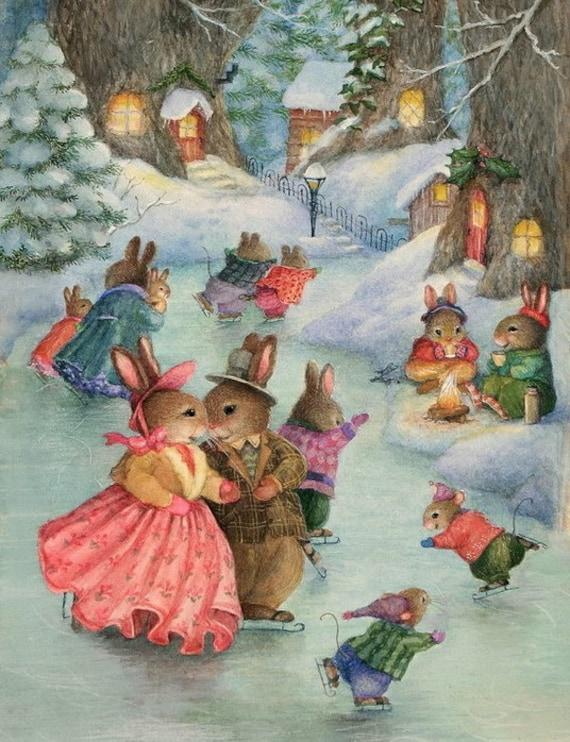 Noël de lapins patinage Art numérique téléchargeable Image imprimable