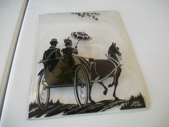 Vintage Reverse Glass Painting Couple in Horse and by naturepoet