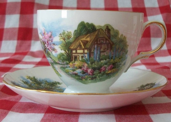 Vintage Royal Vale Bone China English Thatched Cottage Cup & Saucer