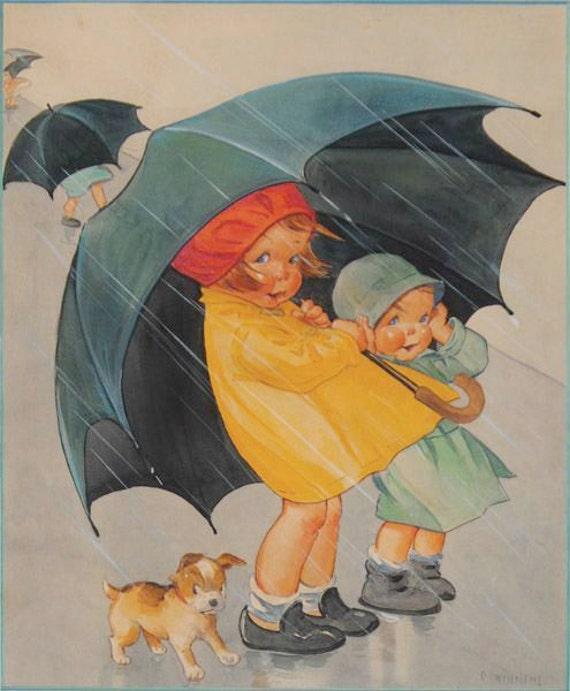 Children with Umbrella Digital Downloadable Printable Image