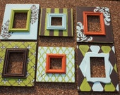 Distressed Picture Frame Set in Lime Aqua and Orange - Wall Grouping