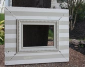 5x7 Khaki and Cream Stripe Distressed Picture Frame - Available in ANY size and color