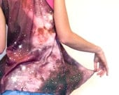 HYPerSpACe VEST -- Organic Cotton -- Cosmic Stars print Black // Purple // White -- gypsy flow vest pixie funky retro Summer Fashion