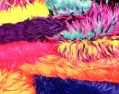 1lb bag Faux Fur SCRAPS - RAiNBoW MiX - 3tone Monster fur // GLitteR fur // Long pile solid colors fuzzy sparkle crafts supplies retro funky