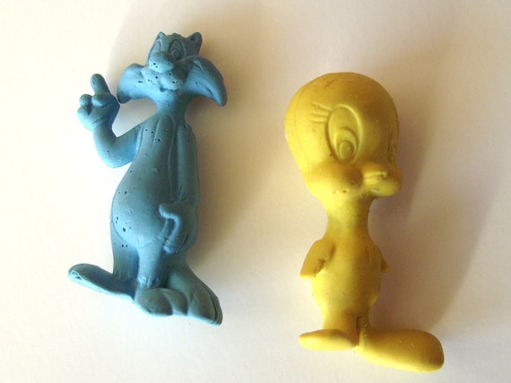 Sylvester and Tweety Bird 1980s Novelty Erasers