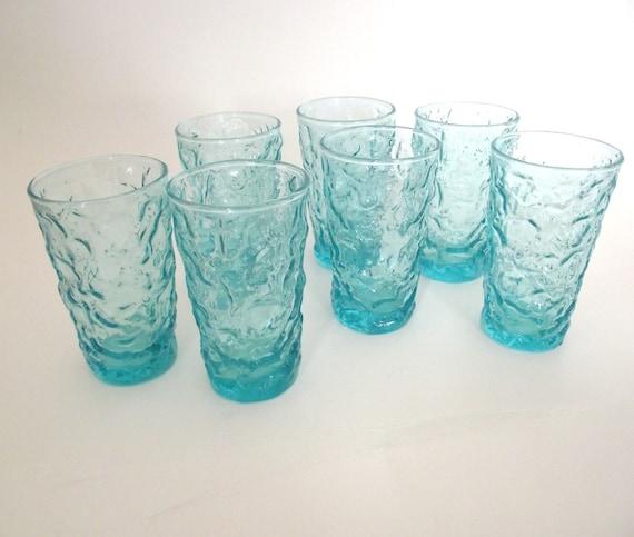 Set of 7 Vintage Turquoise Blue Juice Glasses