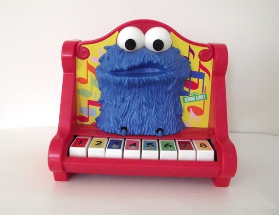 1976 Red Sesame Street Cookie Monster Kid's Toy Piano