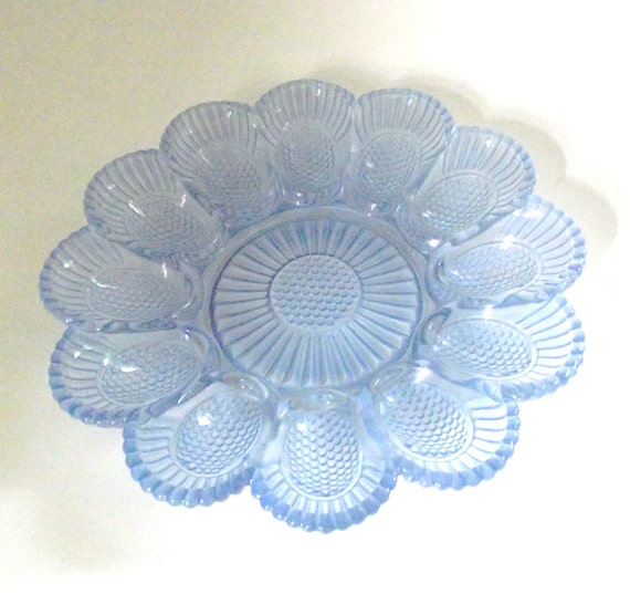 Light Blue Glass Egg Dish with Textured Hobnail Pattern