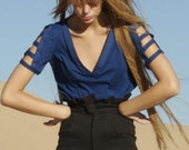Dylan Organic Cotton Jersey Cutout V Neck Tee in Royal Blue