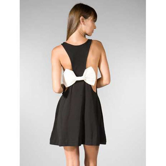 Audrey Organic Cotton Jersey Bow Back Jumper Mini Dress