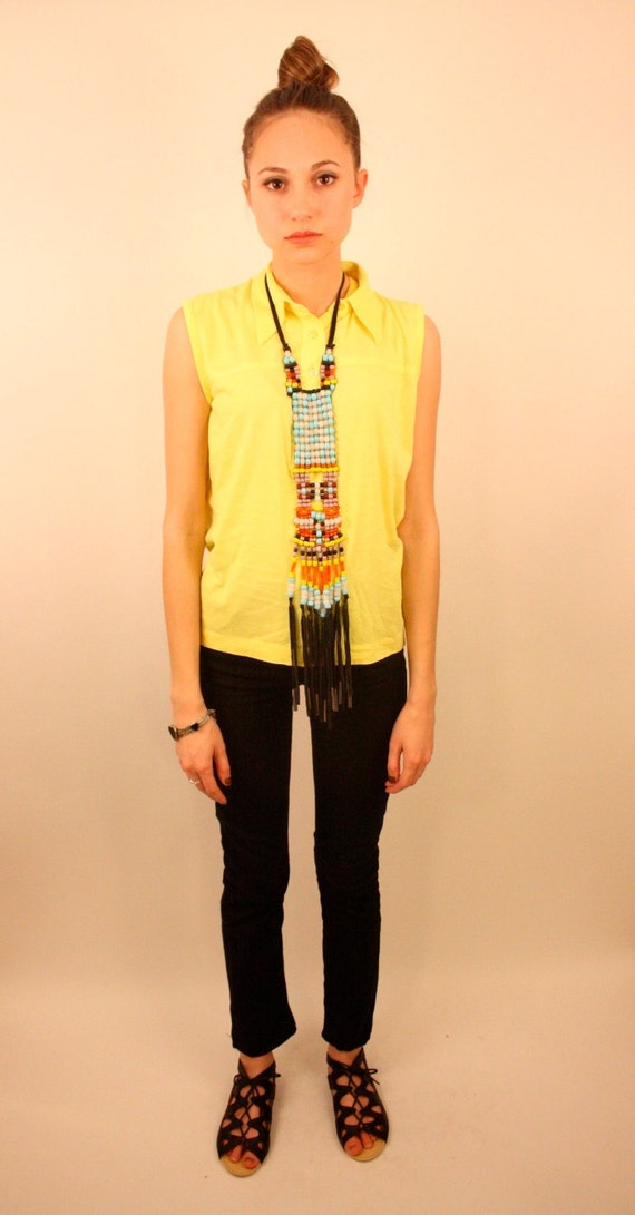 LEON LEVIN 70s Neon Yellow Jersey Collar Muscle Tank Top