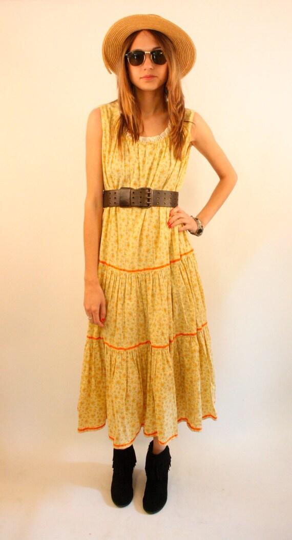 PRAIRIE SUNRISE 70s Floral Lace Ribbon Tiered Skirt Prairie Maxi Dress
