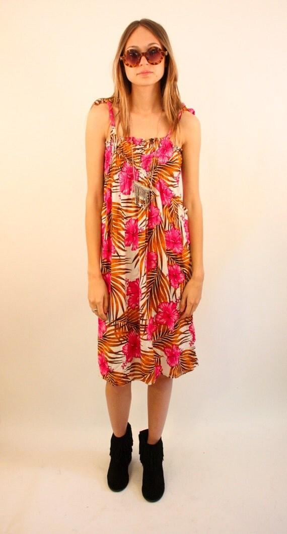 LANIKAI 80s Floral Hawaiian Tie Strap Summer Dress