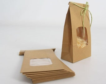Kraft Tin Tie Bags Set of 10 with window