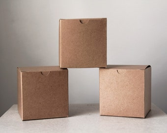 15- 6x6x6 inch Kraft Gift Boxes -Kraft Pinstripe or Solid Surface