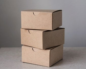Kraft Gift Boxes- Set of 10- 4x4x2 inch- || Rustic Wedding, party favors, product packaging, toys, soap packaging