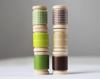 Japanese Washi Tape EARTH TONE GRID Assortment with wooden spools || Rustic Wedding Favors, Rustic Earthy Party Favors