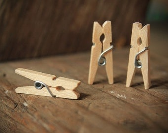 RESERVED- Add to Order- 12 Mini Clothespins Natura Wood