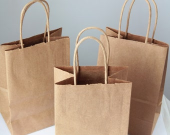 20- Recycled Kraft Handle Bags 8x 5 1/4 x 3 1/2 inches or (20.32 x 13.34 x 8.89cm)