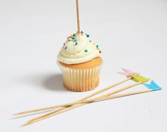 Tall Wooden Cupcake Toppers with Japanese Washi Tape Flags   Set of 24