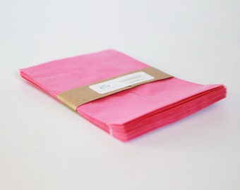 Lot of 12 Pink glassine-lined MERCHANDISE BAGS 4-3/4 X 6-3/4