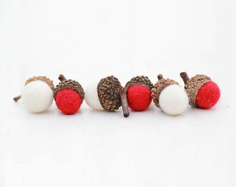 Set of 12 RED AND WHTE  Wool Felted Acorns| boho, cottage chic, woodland, rustic