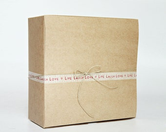 8 x 8 x 3.5 inch Kraft Gift Boxes lot of 10  (20.32 x 20.32 x 8.89 cm)  Wedding Favor Boxes, Large Gift Boxes,  Bridesmaid Gift Boxes